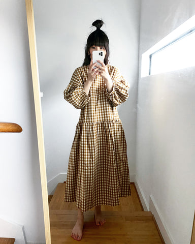 May Dress, Camel Gingham