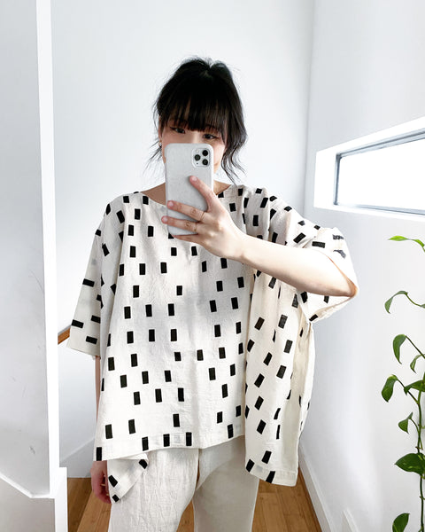 Cream Disko Coarse Cotton Cube Top