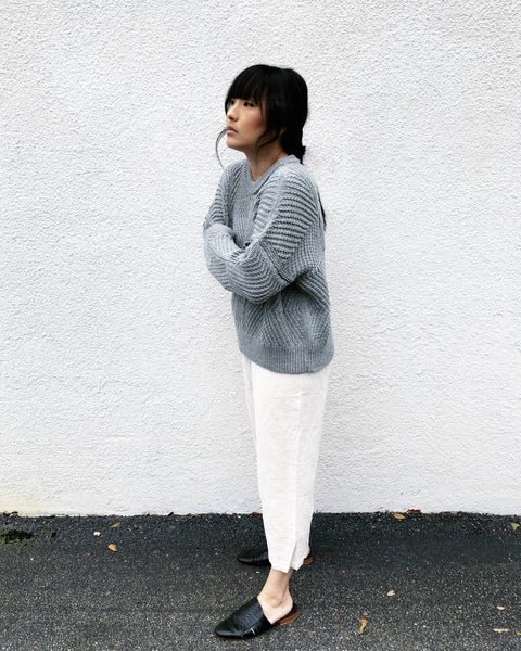 Bevel Sweater, Melange Light Grey