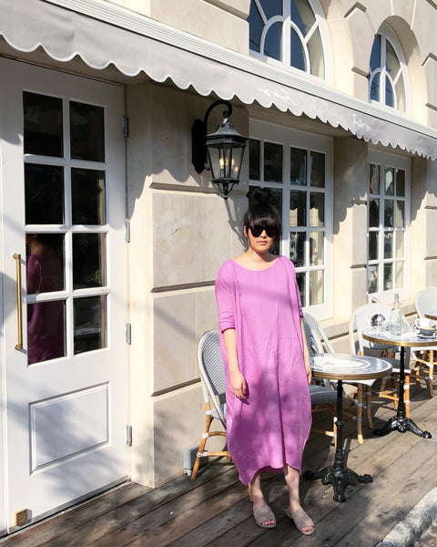 Long Cocoon Dress, Lilac Linen