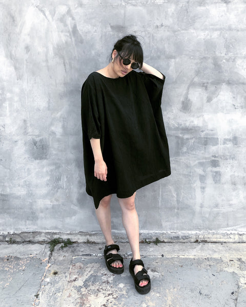 Black Coarse Cotton Box Dress