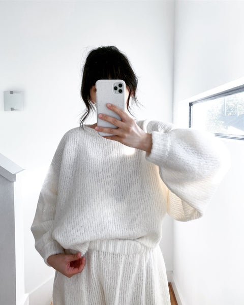 Balloon Sleeve Sweater, Cream, Alpaca