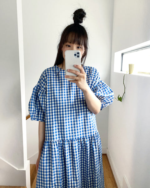 Summer May Dress, Blue Gingham