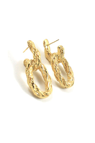 Lou II Earrings, Gold Plated Brass