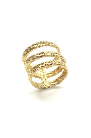 Triples Ring, Gold Plated Brass