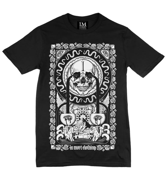 Men's Black & White Printed T Shirt