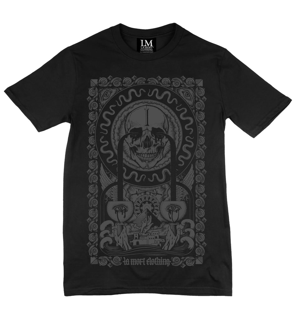 Men's Black & Charcoal Print T Shirt