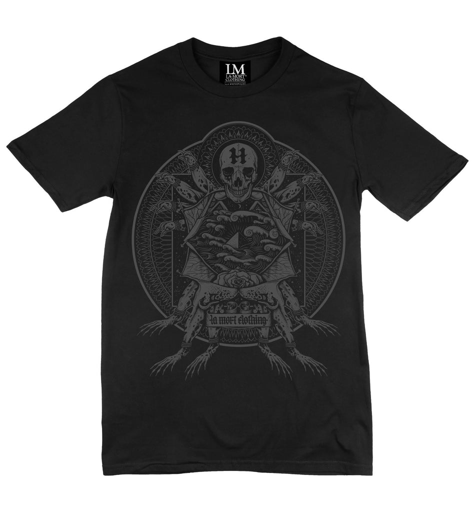 Black & Charcoal Print T Shirt For Men