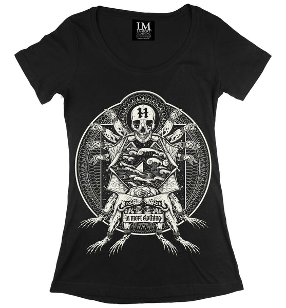 Women's Fitted Tattoo Print T Shirt