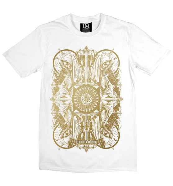 Men's White & Gold Skull Print T Shirt