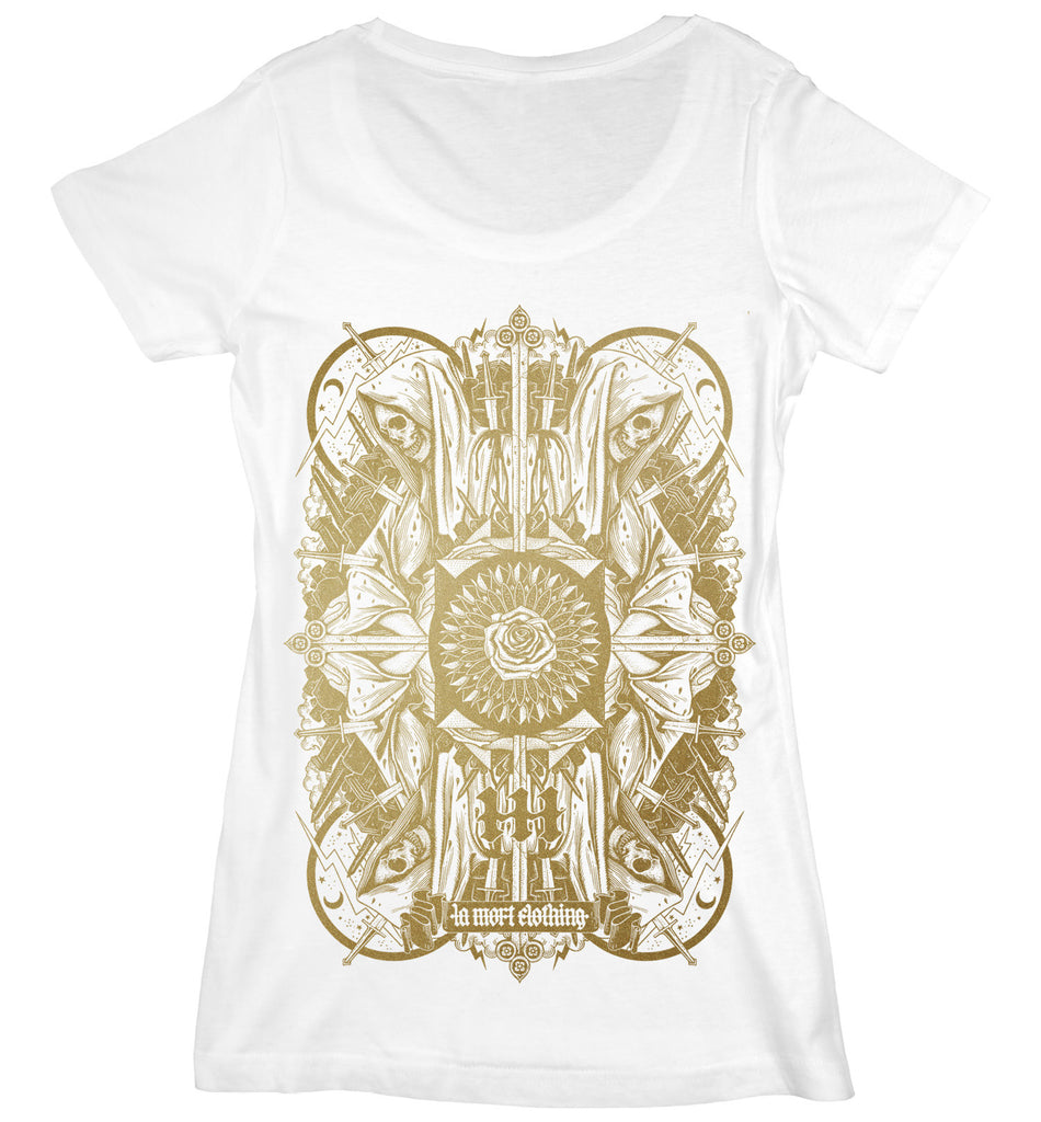 Women's White & Gold Printed Skull T Shirt