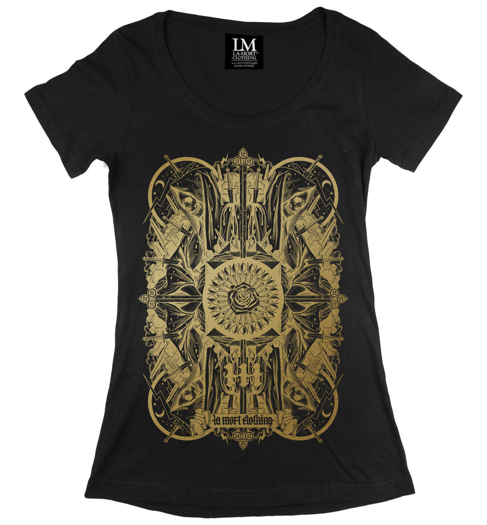 Black & Gold Women's Printed T Shirt