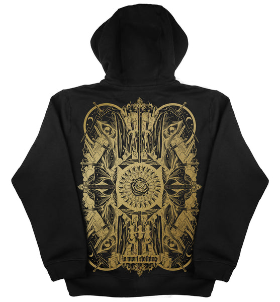 Black & Gold Printed Hoodie For Men