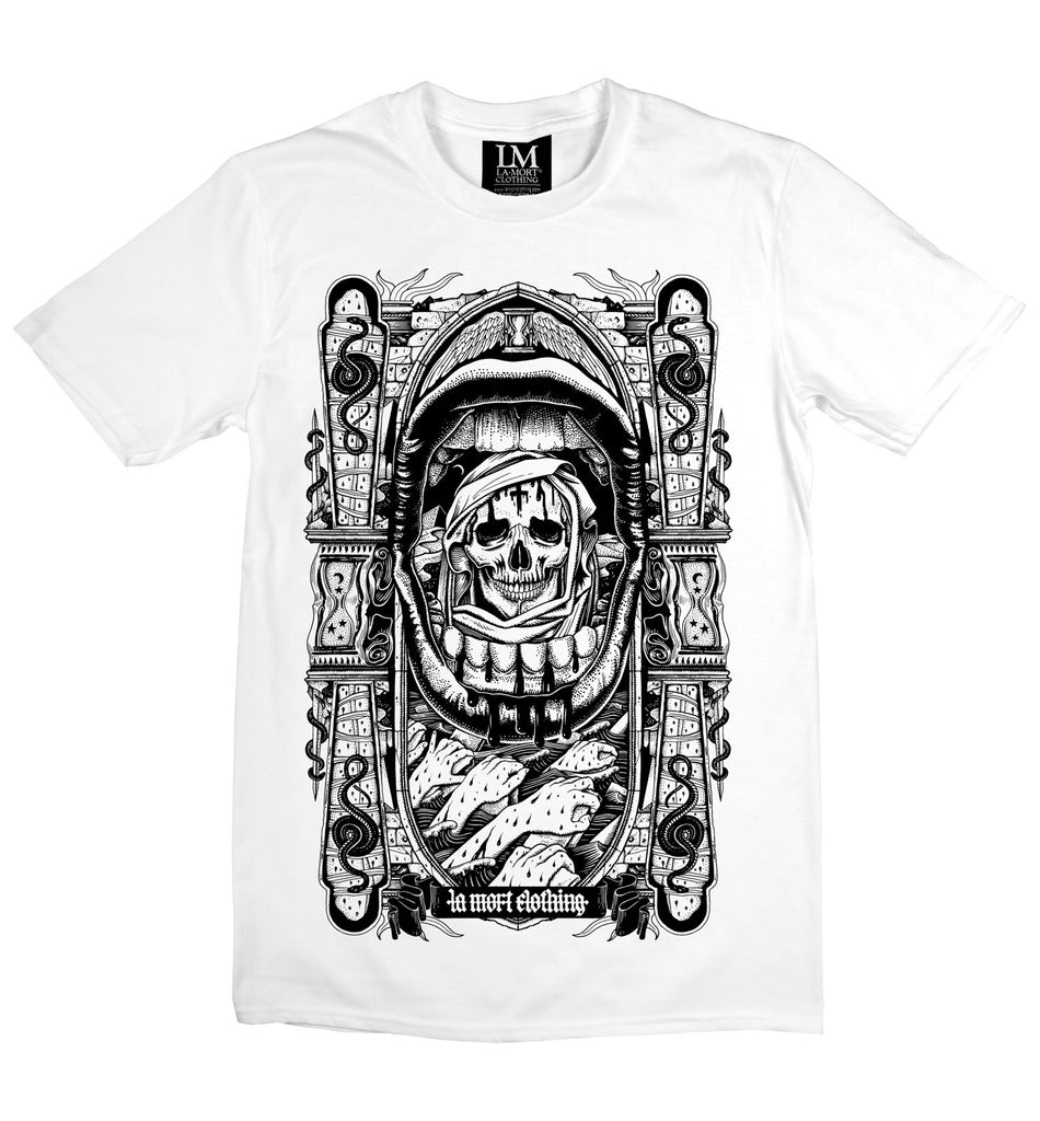 Men's Black On White Skull T Shirt