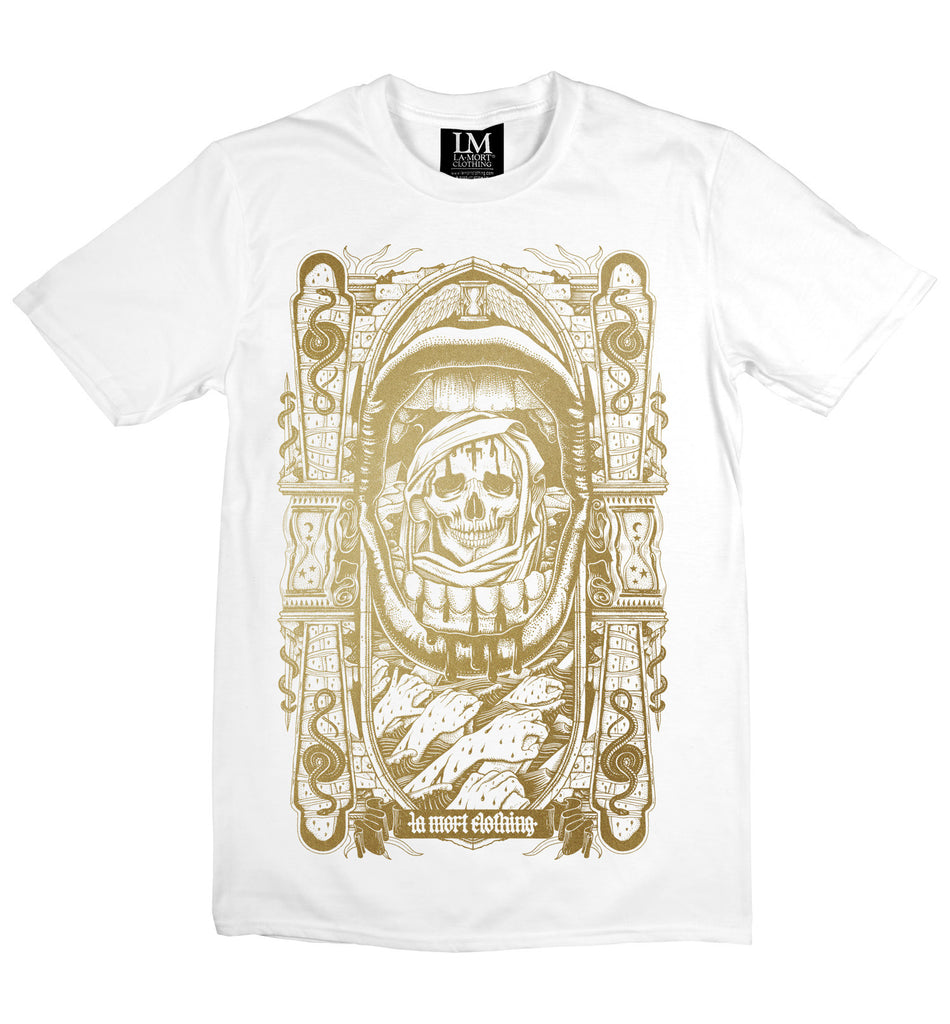 Men's Gold On White Printed T Shirt