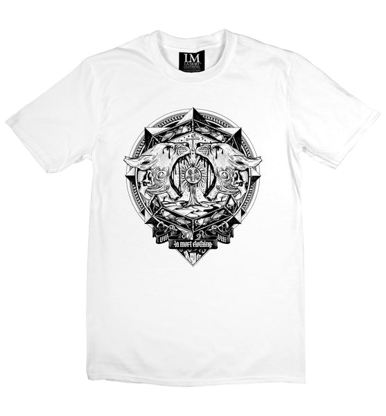 White T Shirt With Black Graphic Print