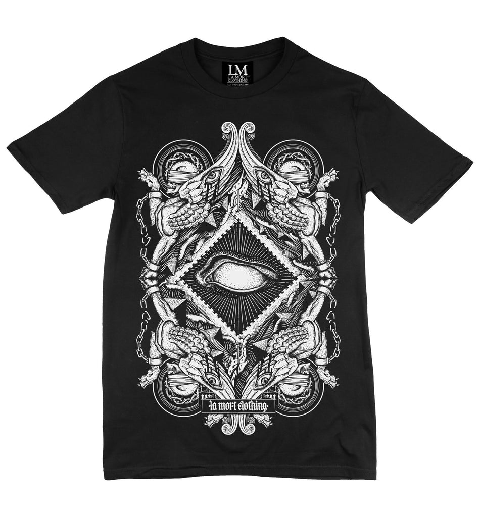 Men's Black Printed T Shirt, Blind