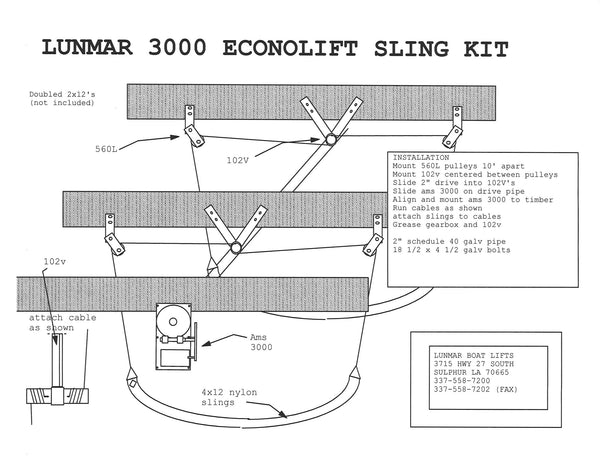 Lunmar Econo Sling Kit Wood Mount  3000  4000  6000    U2013 Lunmar Boat Lifts