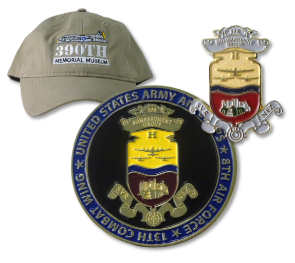 khaki ball cap challenge coin and 390th pin