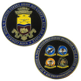 showing both sides of enamel 390th bomb group challenge coin