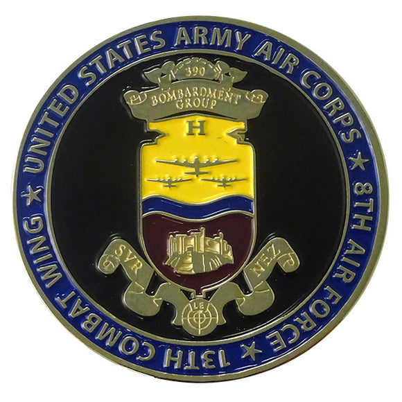 enamel coated challenge coin 390th bomb group emblem words around are: 13th combat wing united states army air corp 8th air force