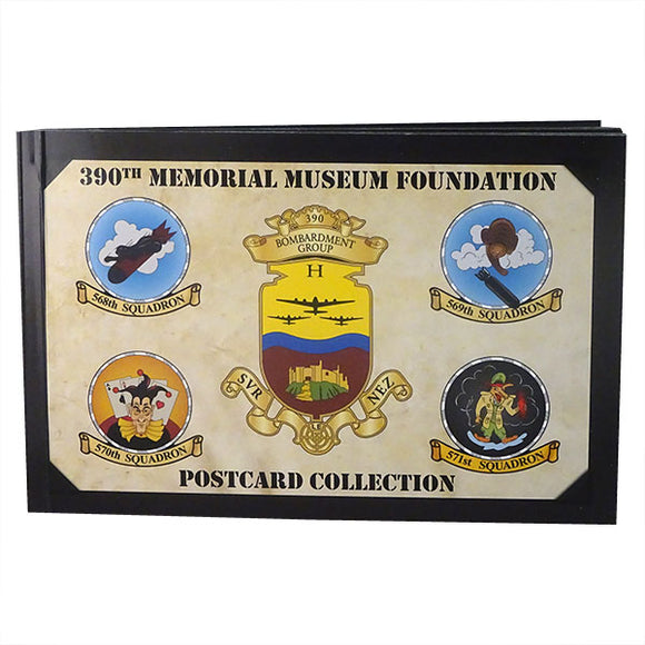 image is a postcard book cover with 390th Bomb Group emblems and text