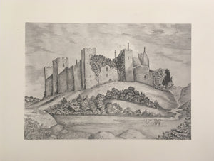 black and white picture shows a castle on a hill