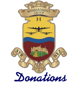 "390th Bomb Group logo ""Svr le Nez"" with the word Donations underneath"