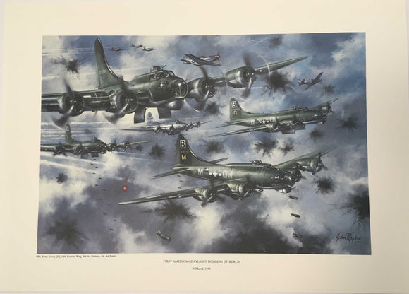 print with Boeing B-17's dropping bombs amid flak