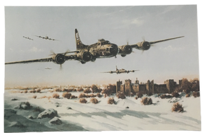 image is postcard with B-17's flying over a castle covered with snow