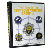 large coffee table book white cover with yellow letters above squadron emblems