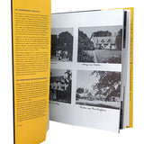 interior pages of large book with text and black and white photos