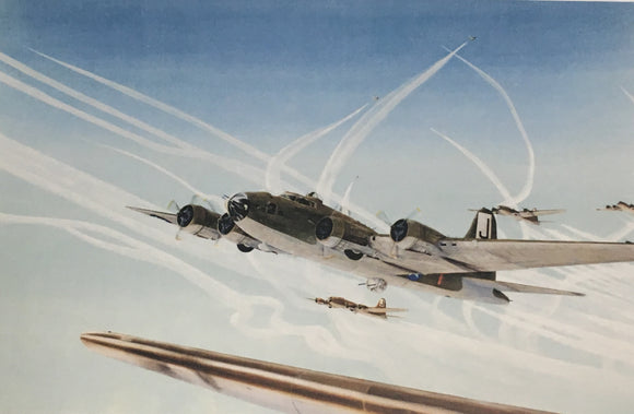 postcard showing B-17's and contrails
