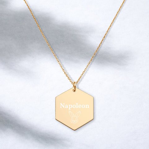 Custom Engraved Bunny Hexagon Necklace