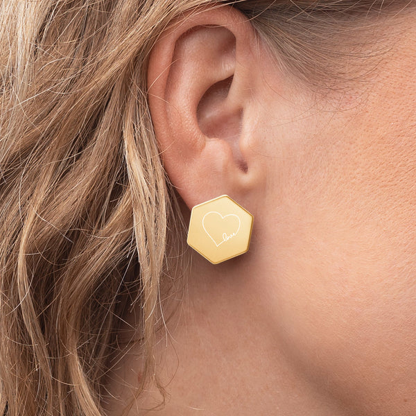 Bunny Much So Hexagon Stud Earrings