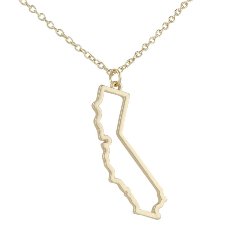 California Outline Map Necklace