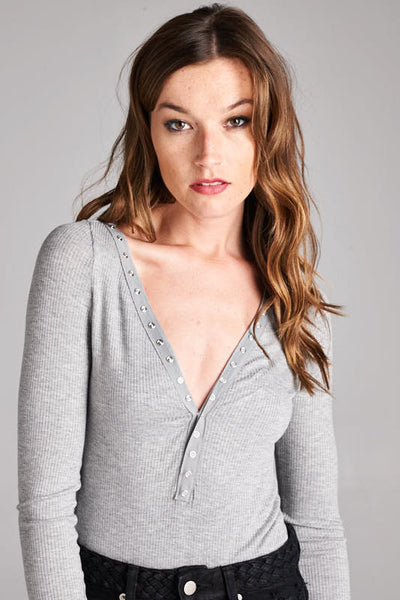 Margaux Ribbed Button-Up Bodysuit