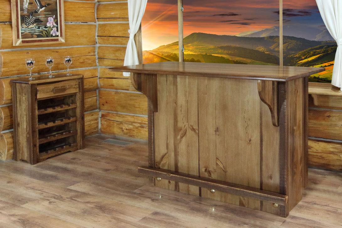 Homestead Collection Bar with Foot Rail, Stain & Clear Lacquer Finish - Ready Bars