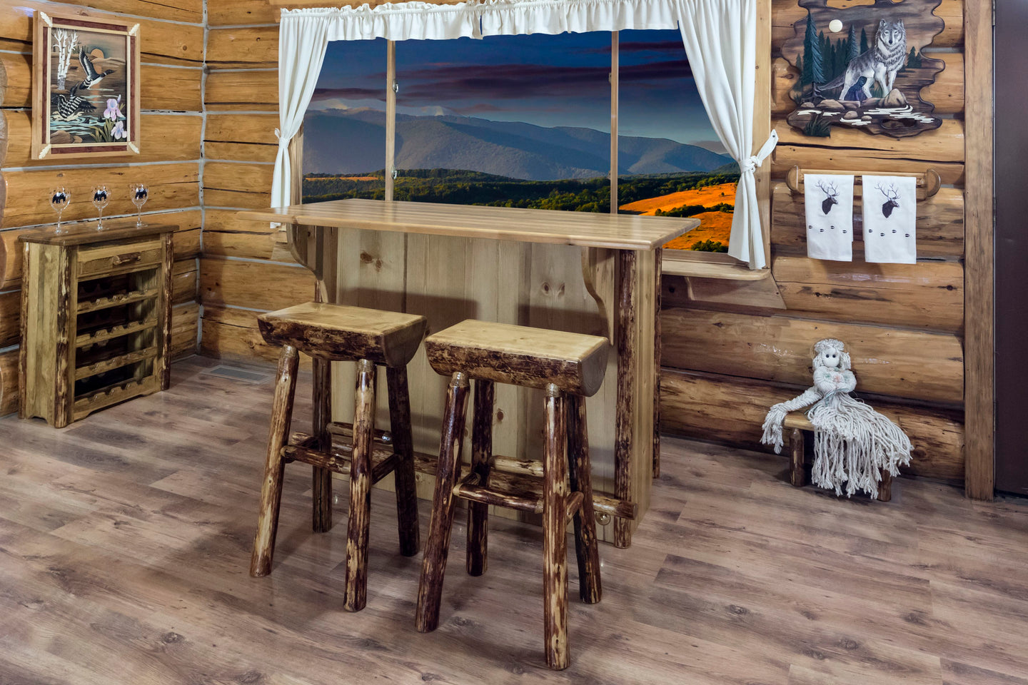 Glacier Country  Collection Deluxe Bar with Foot Rail - Ready Bars