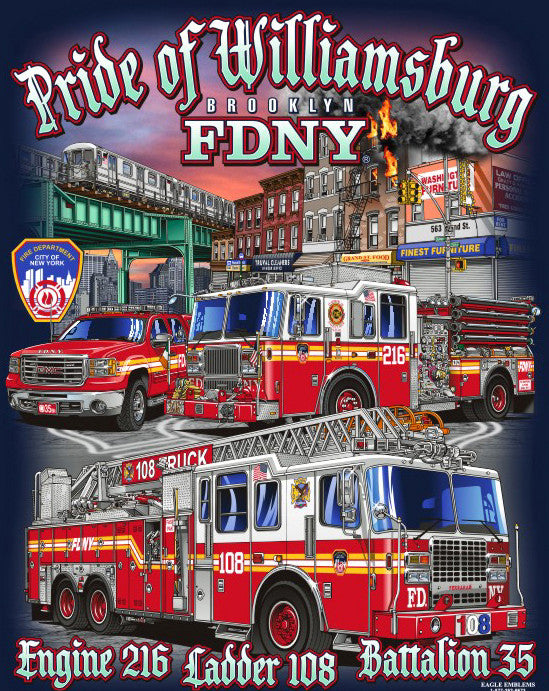 "FDNY E216 L108 ""Pride of Williamsburg"" Small/Large Only Navy Tee"