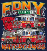 "FDNY E-254 TL-153 Watchdawgs of Ave. ""U"" Brooklyn Fire Tee"