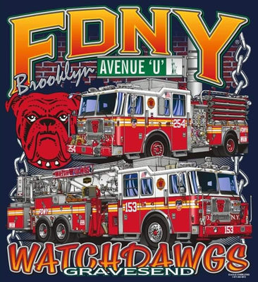FDNY E-254 TL-153 Watchdawgs of Ave.