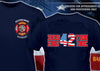 Boston Engine 42 Flag Design on Back Navy Tee