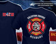 Boston Engine 42 Maltese Design on Back Navy Tee