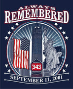 Always  Remembered Freedom Tower 9-11-01  Navy Tee