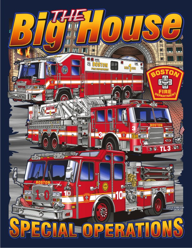 Boston  Rescue 1 Tower Ladder 3 Engine 10  Multicolor Navy Tee
