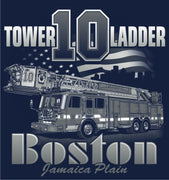 Boston  Fire Dept. Tower Ladder 10 White Print  Navy Tee