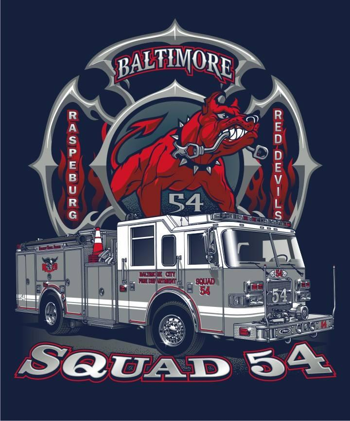 Baltimore Squad 54  Navy Tee