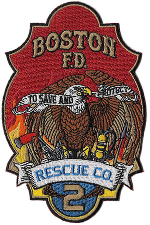 "Boston Rescue 2 NEW Design To Save & Protect 5"" Fire Patch"