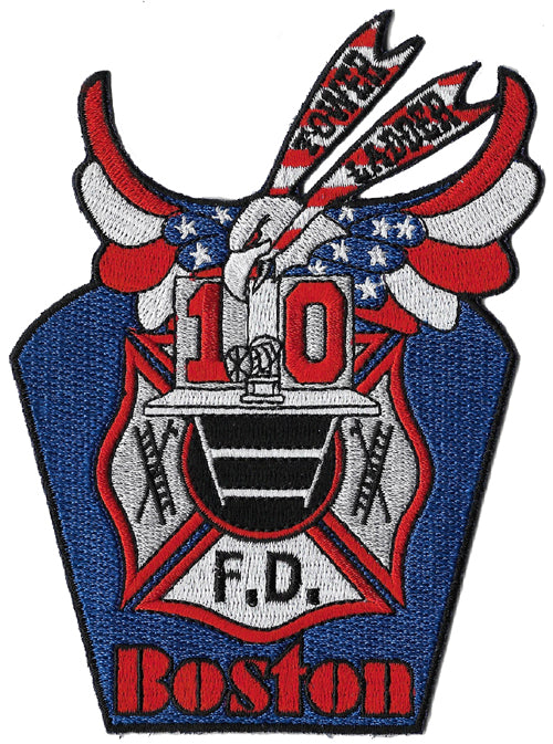 Boston Tower Ladder 10 Red White Blue Wings Fire Patch